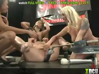 hot fucking machine action with a lesbo foursome