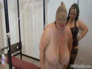 bulky granny with giant love melons gets