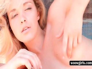 angelic golden-haired touches her melons and fur