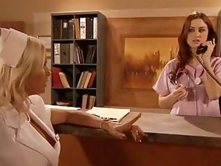 awesome looking lesbian nurses making out in