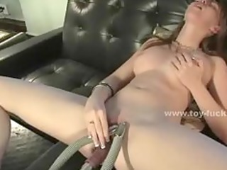 cute juvenile babe opening her pussy for toy