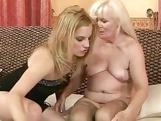 unsightly granny enjoying lesbo sex with hot girl