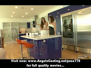lesbo brunette girls cooking and flashing love